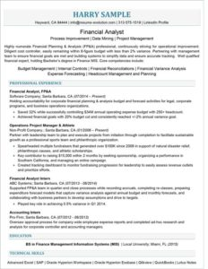 Entry Level Financial Analyst Resume Sample