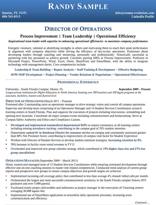 Operations Manager Sample. Mid Level Resume ...  Director Level Resume